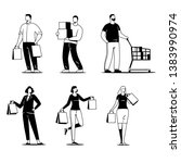set of people carrying shopping.... | Shutterstock .eps vector #1383990974