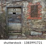 facade of a winemaker's hut on... | Shutterstock . vector #1383991721