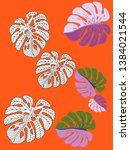 vector tropical pattern with... | Shutterstock .eps vector #1384021544