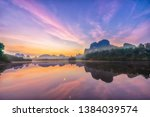 before sunrise background at... | Shutterstock . vector #1384039574