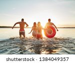 rearview of a group of diverse... | Shutterstock . vector #1384049357