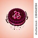 vector brown cookie and pink...   Shutterstock .eps vector #1384068584