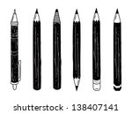 set of pencil doodle | Shutterstock .eps vector #138407141