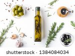 Fresh Olives And Oil In Bottle...