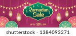 ramadan sale  web header or... | Shutterstock .eps vector #1384093271