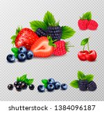 berry fruit realistic set with... | Shutterstock .eps vector #1384096187