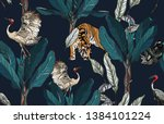 seamless pattern jungle forest... | Shutterstock .eps vector #1384101224