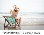 summer beach vacation concept ... | Shutterstock . vector #1384144631