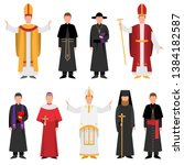 Set Of Priest Of Catholic Or...