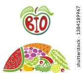 sign bio. apple. beautiful... | Shutterstock .eps vector #1384189967