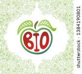 sign bio. apple. beautiful... | Shutterstock .eps vector #1384190801