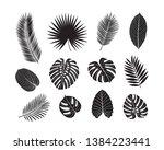 set of tropical leaves. black... | Shutterstock . vector #1384223441
