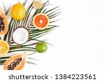 fruits and palm leaves on white ... | Shutterstock . vector #1384223561