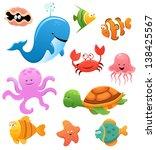 sea animals | Shutterstock .eps vector #138425567