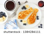 tie shaped pancakes with... | Shutterstock . vector #1384286111