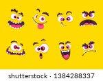cartoon faces. emotions smirk... | Shutterstock .eps vector #1384288337