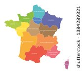 regions of france. map of... | Shutterstock .eps vector #1384289321
