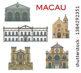 macau architecture and famous... | Shutterstock .eps vector #1384292351