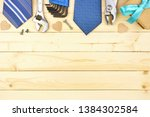 fathers day top border of gifts ... | Shutterstock . vector #1384302584