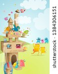 cardboard paper castle kids... | Shutterstock .eps vector #1384306151
