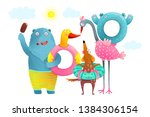 Stock vector animals bear flamingo dog summer inflatables beach vacation funny animals with swimming donuts for 1384306154