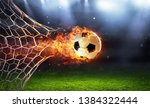 Fiery Soccer Ball In Goal With...