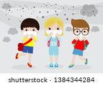 kids in masks because of fine... | Shutterstock .eps vector #1384344284