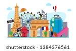 travel to paris creative... | Shutterstock .eps vector #1384376561