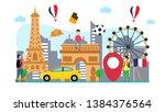 travel to paris creative... | Shutterstock .eps vector #1384376564