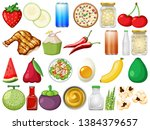set of delicious food... | Shutterstock .eps vector #1384379657