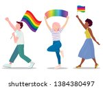 lgbt parade group of people   Shutterstock .eps vector #1384380497