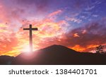 Silhouette The Cross On Sunset...