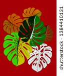 vector tropical pattern with... | Shutterstock .eps vector #1384410131