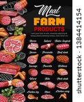 butcher shop meat and sausages...   Shutterstock .eps vector #1384414154