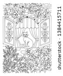 vector illustration zentangl.... | Shutterstock .eps vector #1384415711