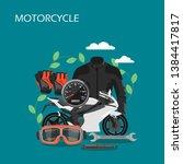motorcycle vector flat...   Shutterstock .eps vector #1384417817