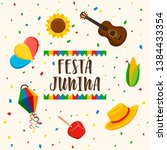 happy festa junina greeting... | Shutterstock .eps vector #1384433354