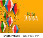 happy festa junina greeting... | Shutterstock .eps vector #1384433444