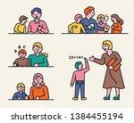 home schooling with children... | Shutterstock .eps vector #1384455194