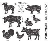 butcher shop logos. funny pets  ... | Shutterstock .eps vector #1384464764
