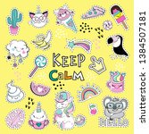 fashion patch badges with cat ... | Shutterstock .eps vector #1384507181