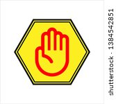 stop hand icon vector art... | Shutterstock .eps vector #1384542851