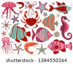 coral reef fauna with tropical... | Shutterstock .eps vector #1384550264