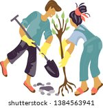 couple of young man and woman ... | Shutterstock .eps vector #1384563941