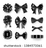 stylish black bows with ribbons.... | Shutterstock .eps vector #1384573361