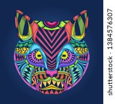 colorful cat face art in pop... | Shutterstock .eps vector #1384576307