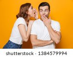 excited beautiful couple... | Shutterstock . vector #1384579994