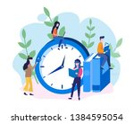 people reading near big clock... | Shutterstock .eps vector #1384595054