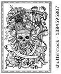 pirate skull with jolly roger ...   Shutterstock .eps vector #1384595807