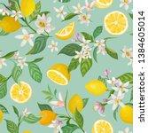 seamless lemon pattern with... | Shutterstock .eps vector #1384605014
